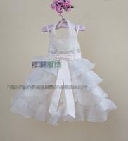 2013 new princess party dress girl Bow boods Sequins Layering falbala Strap tutu dress kid white Wedding dress  Dressy EMS 2388