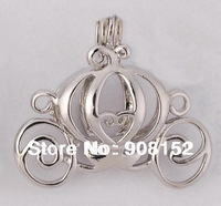 POP! 18kgp Carriage Locket  Pumpkin Caravan Pearl Bead Cage /Pendant for Jewelry, Bracelet /Necklace, Free Shipping