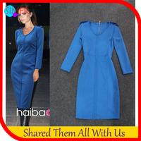 Women's Cotton Sexy Sheath Pencil Dress O-Neck Mid-Calf Long Sleeve Back Zipper Celebrity Victoria Beckham Dress Blue Color