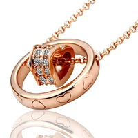 2013 Hot 18KGP Fashion Jewelry 18K Gold Plated Necklace Nickel Free Rhinestone Crystal Pendant SWA- Elements HLJ 152