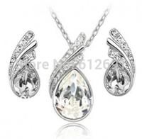 Crystal jewelry set fashion crystal earrings + neckalce set wedding jewelry charms women jewelry LM-S022