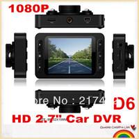 "Hot selling!cheap Mini 2.7"" Car DVR D6  NOVATEK Chip  LCD Recorder Video Dashboard Vehicle Camera Free shipping!"