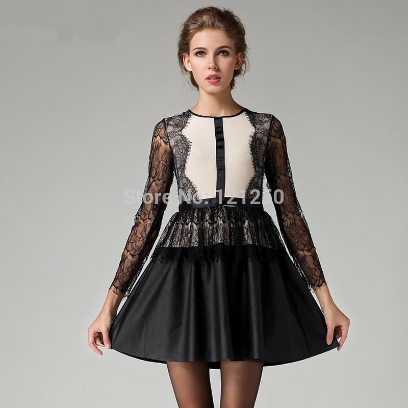 Di alta qualità 2014 nuova pista autunno marchio di moda carino elegante pizzo manica lunga pu patchwork plus size un pezzo vestito s, m, l1720