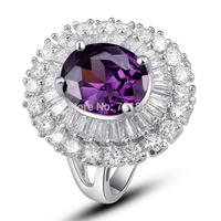 New Stylish Splendid Amethyst Silver Ring Size 8 Purple StoneJewelry For WomenWholesale Free Shipping