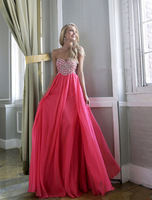 2014 New Long Prom Dress Custom Made Sweetheart Beaded Chiffon Off The Shoulder Sleeveless A-Line Formal Evening Gowns