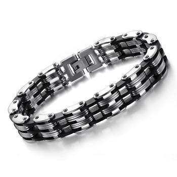 Fashion Friendship Men Bracelet Punk Black Silicone Steel Bracelets Bangles Bracciali ...