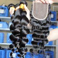 SunnyQueen hair products peruvian loose wave virgin hair 4pcs lot,1pc 3 part closure and 3 bundles free shipping,natural color