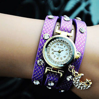 2013 New Coming Fashion Rhinestone Wrap Leather Dress Watches Crystal Leather Casual Wristwatches for Women Ladies Gifts White