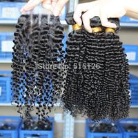 Mongolian virgin hair kinky curly hair 3 bundles with 1pc 3 part closure  mongolian kinky curly hair and lace closure,4pcs lot