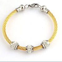 New Gold/Silver Rhinestone Cable Bracelet Fashion 316l Stainless Steel CZ Diamond Bead Bangle