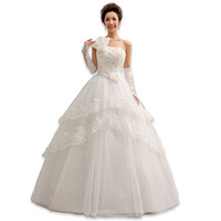 Free Shipping 2014  New Arrival Sweet Princess One-shoulder Lace Mermaid Wedding Dresses Red And White MZY