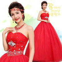 Free Shipping  2013 Newest Design  Sweet  Princess Diamond  Decoration Sex Tube Top  Mermaid Wedding Dresses Red And White MZY