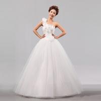 Free Shipping New 2014  Fashion Sweet One-shoulder  Lotus Flower Decoration Bride Tube Top Wedding Dress  MZY