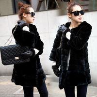 New arrival big 2013 autumn and winter women faux fur coat medium-long outerwear