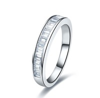 Classic Rectangle Band Semi Mount SONA Synthetic Diamond Engagement Ring Brilliant 0.5 Carat 925 Silver Wedding Jewelry Luxury