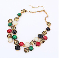Min.order is $20 (mix order) European and American retro fashion geometric gem necklace cxt8036