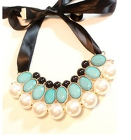 Min.order is $20 (mix order) Europe and America pearl ribbon gem collar choker bib  chunky  necklace cxt95809