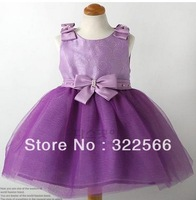 Free shipping 2013 baby grils dress bow dress princess dress purple fashion baby dress