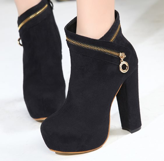 2014 Sexy hot Sale designer boots women High Thick Heels Shoes Platforms Zipper high Quality Martin Boots RA336 EURO Size35-39(China (Mainland))