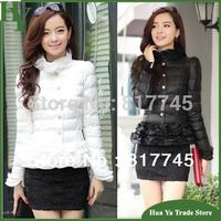 J008 Women's Ruffle Coats 2014 New Fashion Winter Slim Thick Short Down Parka