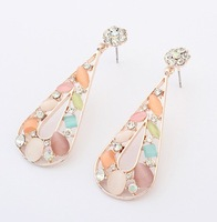 Min.order is $15 (mix order) European and American fashion exquisite opal diamond water drop earrings