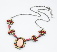 Min.order is $15 (mix order) European and American fashion Bohemian sparkling gem stone necklace
