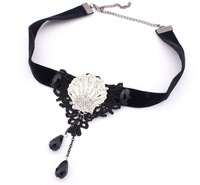 Min.order is $15 (mix order) European and American fashion shell necklace collar tassel pendant