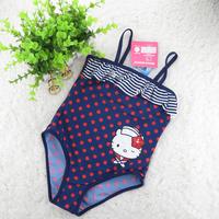1-8 Years Children Baby Swimsuit/Girl's Hello Kitty One-Piece Swimwear/Kid's Navy Style Swimming Wear/Free Shipping Retail 1 PC