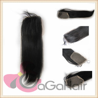 Lace Top Closure (4 inch *4 inch) Brazilian Virgin Remy Human Hair Straight 1B# Off Black 8''-24'' Factory Sale 5A Quality
