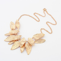 Min.order is $15 (mix order) European and American fashion multi leaf pendant necklace