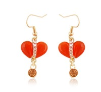 Fashion long design fashion stud earring heart rhinestone earrings female accessories