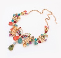 Min.order is $15 (mix order) The new European and American fashion national butterfly gem stone pendant choker collar necklace