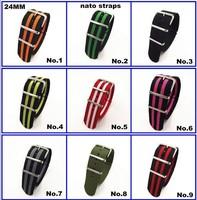 Hot sale ! Wholesale 10PCS/lots High quality 24MM Nylon Watch band NATO straps zulu straps waterproof watch strap