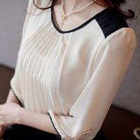Free Shipping 2014 Summer New Women's Large Size Neck Chiffon shirt Sleeve Lace Shirt Blouse Tops Size S ~ L