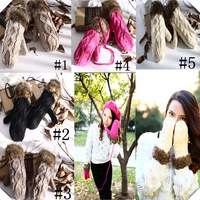 Elbow Fake Fur Knitted Handmade Winter Warm Wool Cotton Sweater Women Long With Chain Gloves Free Shipping Wholesale