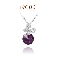 ROXI Christmas fashion Purple butterfly pendant necklace Austrian crystals platinum plated hand made fashion jewelry,2030048630