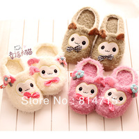 Autumn and winter cartoon little sheep plush home floor package with lovers thermal cotton-padded slippers