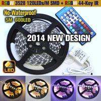 RGBW(RGB+Warm White) 3528 SMD 120led/m Flexible No-Waterproof 600LED Strip Light +RGBW 44key IR Remote !!  Free shipping!!!
