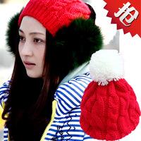 Free Shipping Red Ovo Ball Knitting Wool Hat