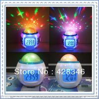 5pcs/lot Free Shipping Children Room Sky Star Night Light Projector Lamp Bedroom Alarm Clock W/music LED-5019