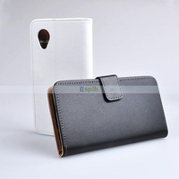 Genuine Wallet Leather Case for LG Nexus 5 with Card Holder,White/Black for Choice 50pcs/Lot