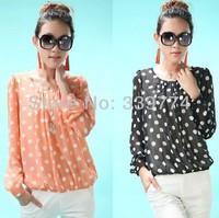 CS105 Women Clothing 2014 Spring Summer Fashion Tops Polka Dot Chiffon Blouses Loose Plus Size S XXXXXL Long Sleeve Shirt Women