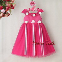 Fashion Baby Girls Christmas Flower Dresses with bow cotton and polyester dress Lacy Dress Kid party DressGD31115-1