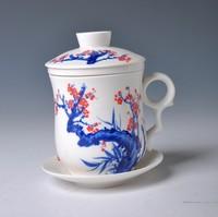 6 kinds of patterns blue and white tea cup, high quality Chinese DEHUA  tea mug