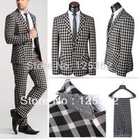 Stylish Brand Men's Slim Fit Plaid Suits Casual Suit Jacket Blazer Coat Pant