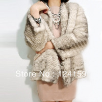 2013 new style weave mink fur coat long leisure mink coat Can be customized free shipping