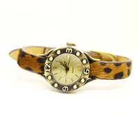 Free shipping wholesale dropship 2013 Leopard print Genuine Leather quartz watches women fashion