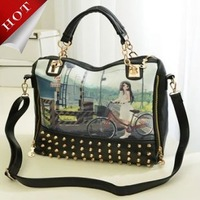 Free Shipping new vintage rivet chain spray-painting splicing single shoulder bag, handbag, worn handbags,women messenger bags
