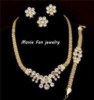 Daren wholesale rhinestone Necklace Fashion Jewelry Set For Women 4pieces/set jewelry party jewelry Bridal Jewelry  DRSA303