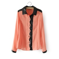 Spring 2014 new blouse OL wavy skin patchwork shirt women thin chiffon plus size women blouses YI001